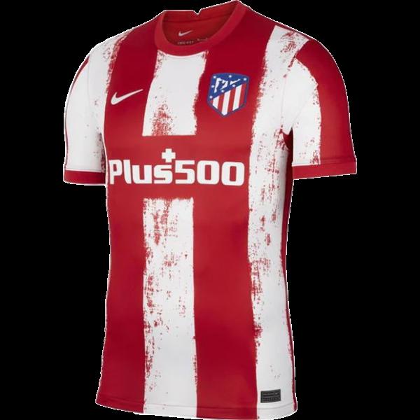 """חולצת בית של קבוצת הכדורגל הספרדית אתלטיקו מדריד לעונת 22 -21 צבע אדום לבן במבצע החל מ149 ש""""ח קולקציית קיץ של אתלטיקו מדריד חולצה של קוקה,סאול,ג'ואו פליקס,אובלק,סוארז"""